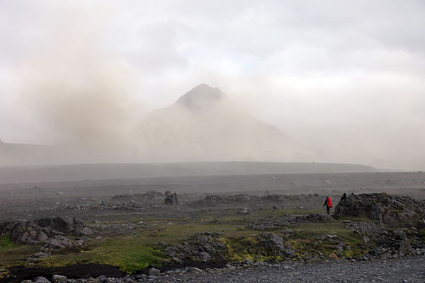 03D-5465 Volcanic Dust Storm in the Emstrur Area on Day 3 of the Laugavegur Hiking Trail from Landmannalaugar to Thorsmork Iceland