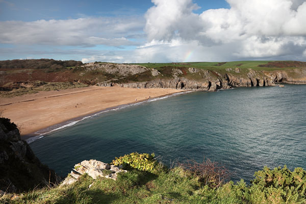 03D-9594 The Beach of Barafundle Bay From the Pembrokeshire Coastal Path Pembrokeshire National Park Wales Cymru UK