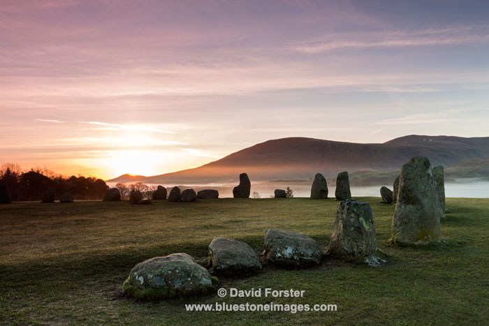 03M-2828a Sunrise at the Castlerigg Stone Circle Lake District Cumbria UK