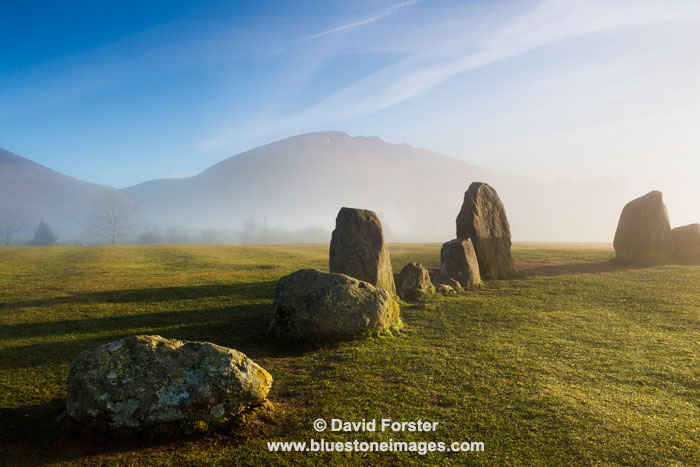 03M-2973 Blencathra and the Standing Stones of the Castlerigg Stone Circle on a Misty Morning Lake District Cumbria
