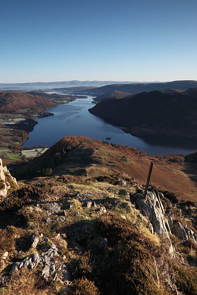 04D-0180 The View over Ullswater to the Distant Pennines From the Summit of Sheffield Pike in Autumn Lake District Cumbria UK.