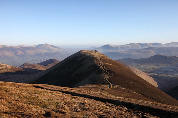 04D-1961 The View NE from the Slopes of Sail Towards the Summit of Causey Pike, Blencathra and the Helvellyn Range Lake District Cumbria UK.