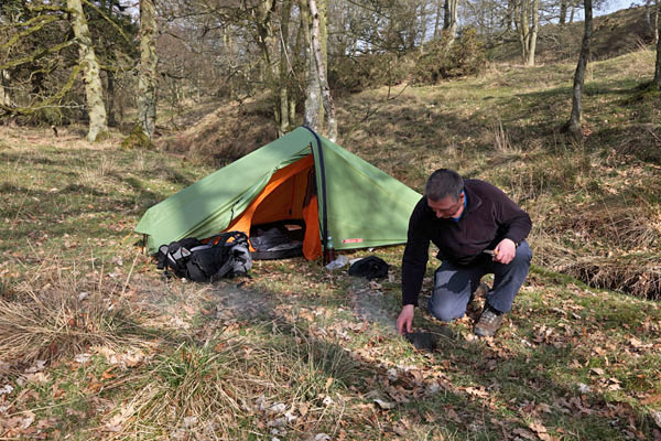 04D-4479 Walker Wild Camping in a Woodland Using the Vango Force Ten Helium 100 Tent UK