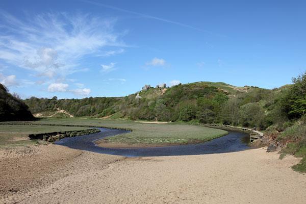 04D-8432 Pennard Pill (Stream) and Pennard Castle Three Cliffs Bay Gower Wales UK