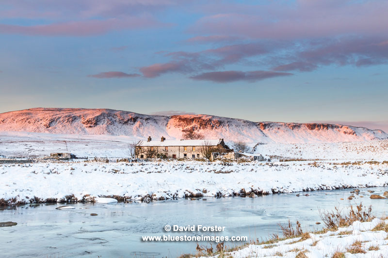 04M-2508 Harwood Beck and Wheysike House in Winter with Cronkley Fell Behind, Upper Teesdale, County Durham UK