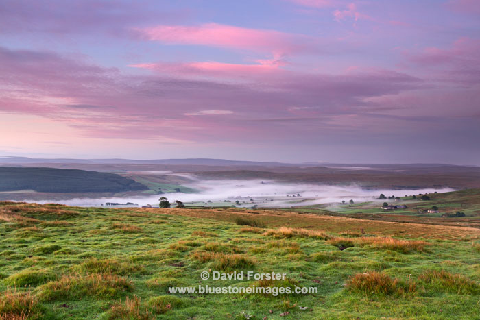 Misty Lunedale from the summit of  Harter Fell,  North Pennines County Durham UK
