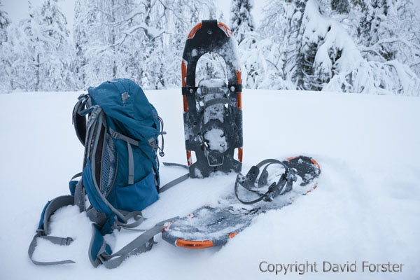 05D-1346 Rucsack with Snow Shoes Next to it in Finnish Lapland, Finland