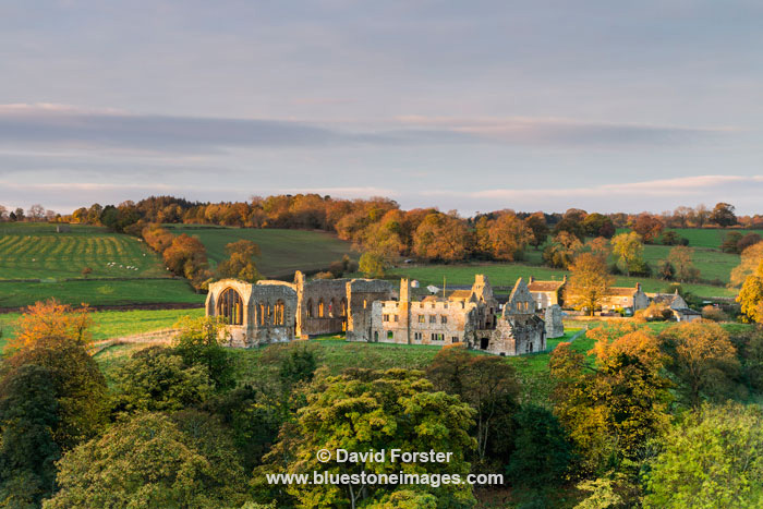 Morning Light Illuminating the Ruins of Egglestone Abbey near Barnard Castle, Teesdale, County Durham UK.