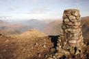 06-2266 The Summit Cairn of Red Screes and the View North over Middle Dodd and Brothers Water.  Lake District, Cumbria