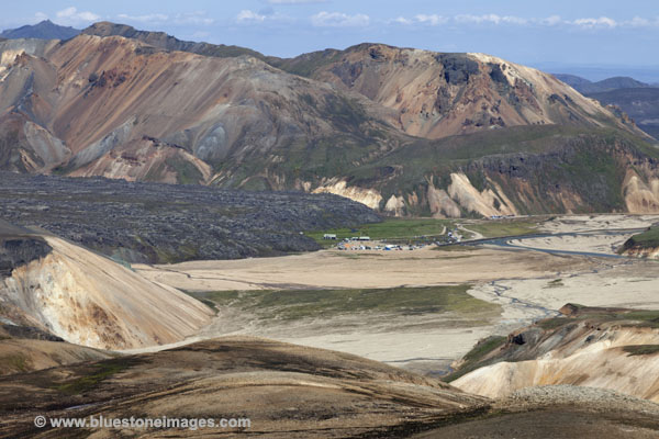 06D-1396 Landmannalaugar and the Laugahraun Lava Field Surrounded by the Colourful Rhyolite Mountains Fjallabak Area of Iceland