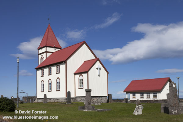 06D-2662 The Kalfatjarnarkirkja Church at Vatnsleysustrond Vogar on the Reykjanes Peninsula Iceland