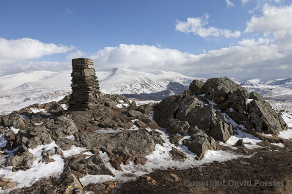 06D-3750 The Summit Trig of High Seat and the View East Towards the Helvellyn Mountain Range in Winter Lake District Cumbria