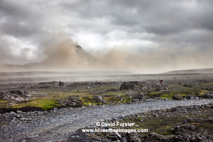 06D-5461a Hiker and Approaching Volcanic Dust Storm Laugavegur Laugavegurinn Hiking Trail Emstrur Iceland