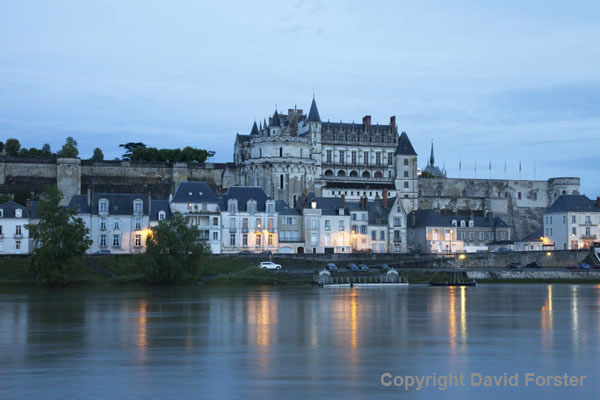 06D-8067 The Chateau and Lights of the Village Amboise Across the Loire River at Night, Indre et Loire Region of France.