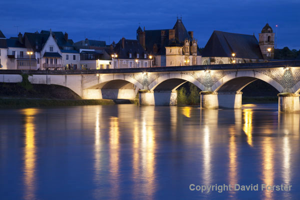 06D-8084 Pont Leclerc with the Church of St Florentin Behind Viewed Across the Loire River at Night Amboise Indre et Loire France