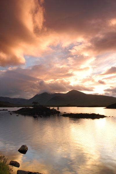 07-2479 Sunset Over the Black Mount and Lochan na h-Achlaise, Rannoch Moor, Scotland