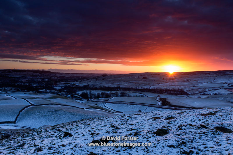 Winter Sunrise from the Bronze-Age Burial Mound of Kirkcarrion, Lunedale, Teesdale, County Durham, UK