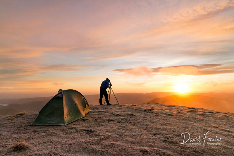 Photographing the Sunrise on Nethermost Pike, Lake District, Cumbria, UK.