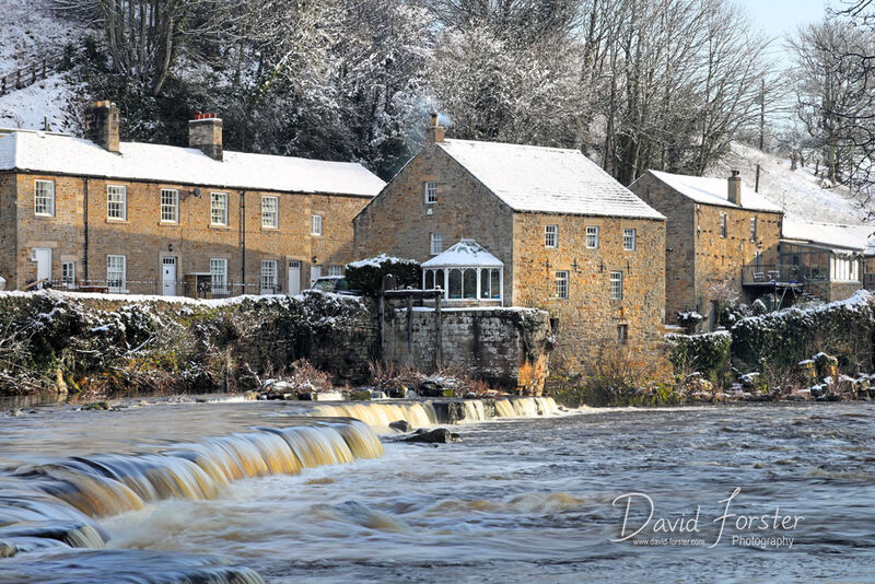Mill Falls in Winter, Barnard Castle, Teesdale, County Durham, UK