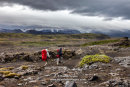Hikers Heading South on the Laugarvegur Hiking Trail (Laugavegurinn) Near Thorsmork with the Eyjafjallajokull Volcano Ahead, Iceland