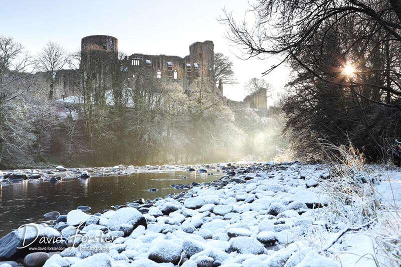 Barnard Castle Viewed from the River Tees in Winter, Teesdale, County Durham, Uk