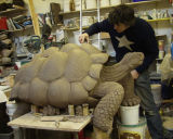 David sculpts a Galapagos Tortoise in clay