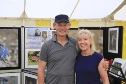 My partner Yvonne with Martin Clunes setting up for Buckham Fair