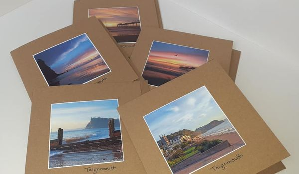 Teignmouth Handmade Greeting Cards x5 - recycled
