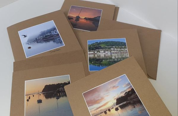 Shaldon Handmade Greeting Cards x5 - recycled