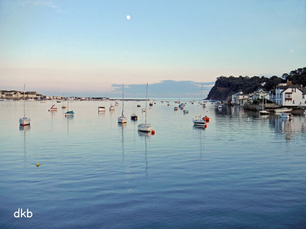 Moonrise Shaldon and Back Beach, Teignmouth.