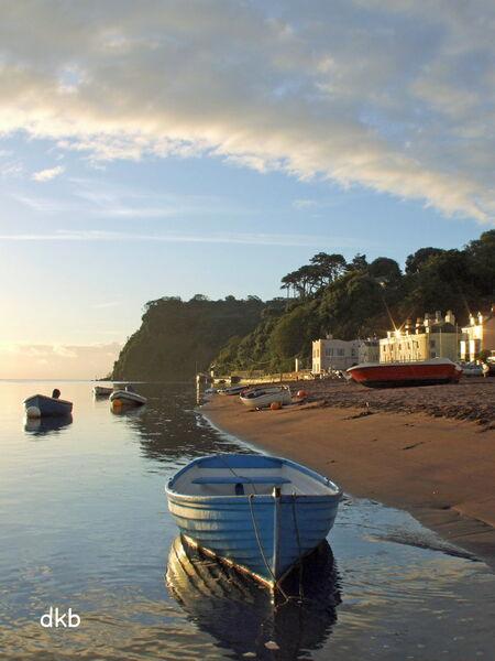 """Sunrise Shaldon Beach """"Blue Boat""""."""