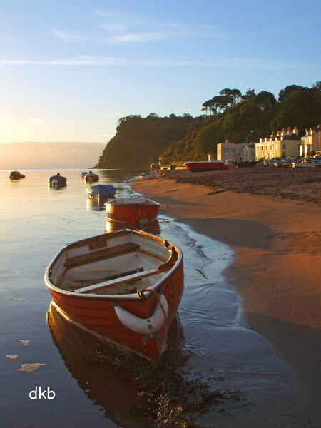 "Sunrise Shaldon Beach ""Red Boat""."