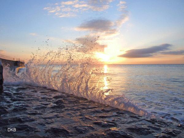 Sunrise splash The Point, Teignmouth