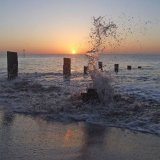 Sunrise splash Teignmouth Sands