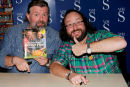 Thumbs up to our new book says Si King and Dave Myres aka The Hairy Bikers