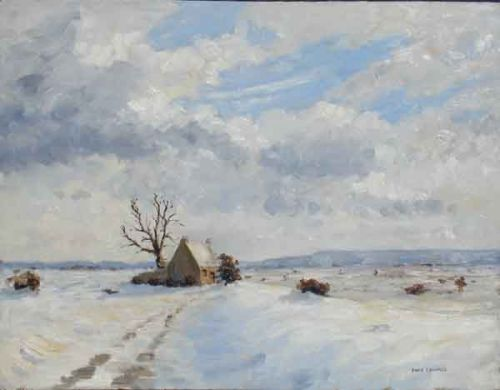 Dales cottage looking across to North York Moors in winter snow