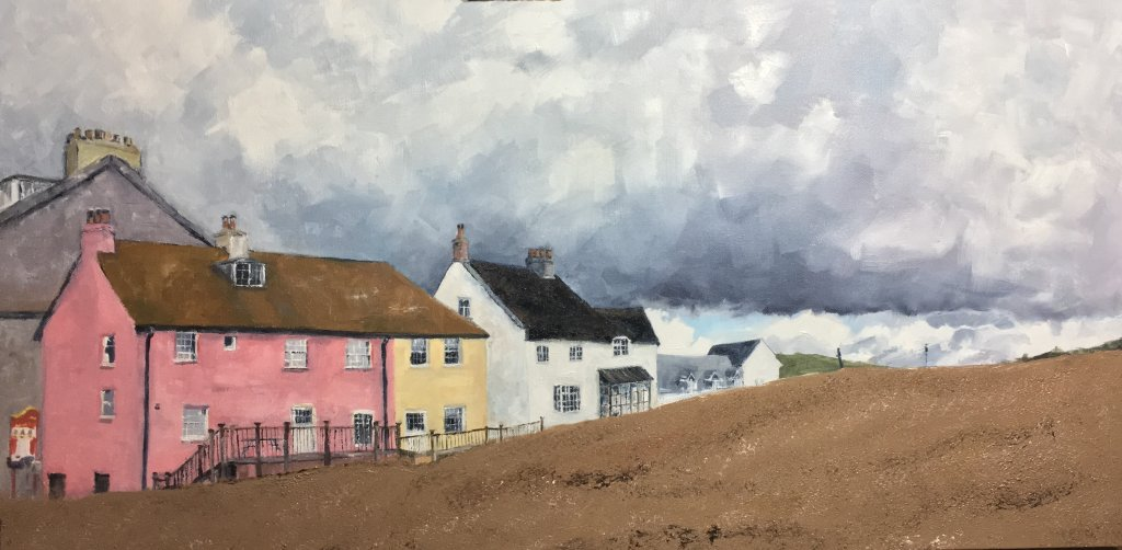 West Bay Dorset. The pink house