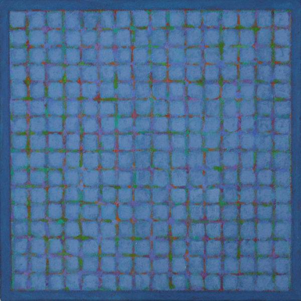 Grid - Green & Violet on Blue 45x45cm Acrylic on canvas 2013