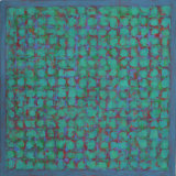 Grid - Red & Blue on Green 45x45cm Acrylic on canvas 2013