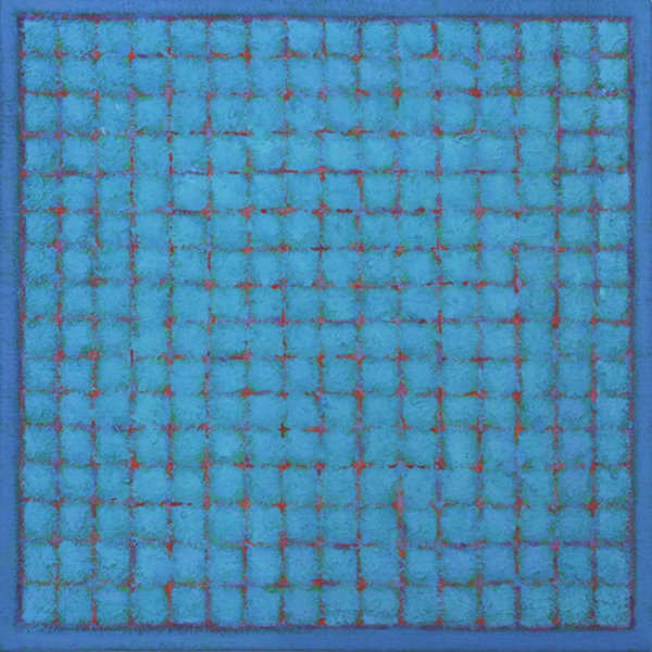 Grid - Blue Red on Blue  4545cm Acrylic on canvas 2015