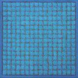 Grid - Blue Red on Blue  4545cm Acrylic on canvas 2015