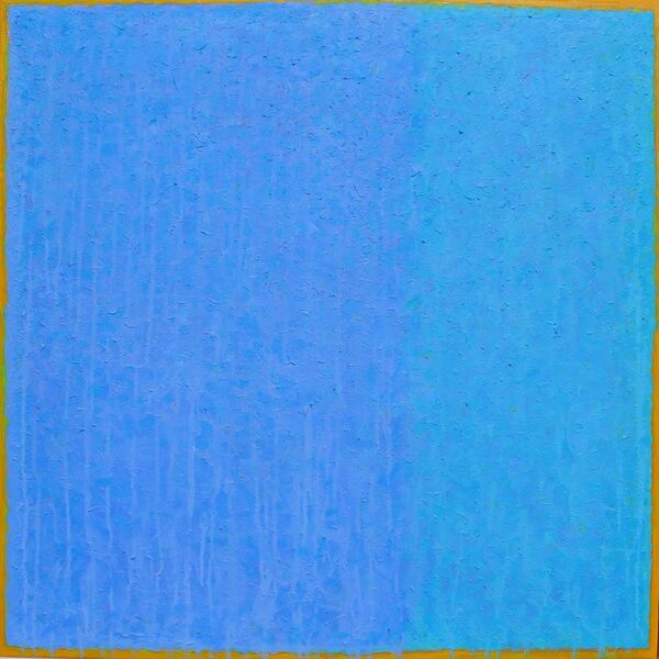 'Blue Drench 1' acrylic on canvas 80x80cm 2019