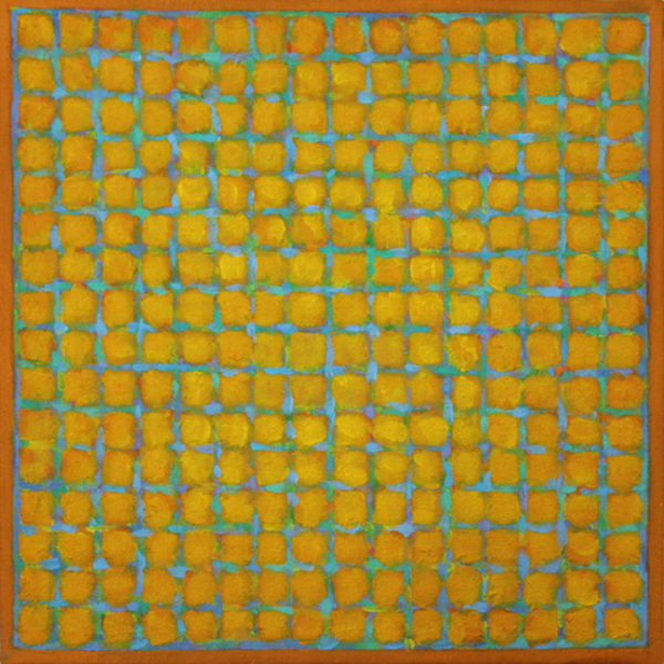 Grid - Blue on Yellow 45x45cm Acrylic on canvas 2014