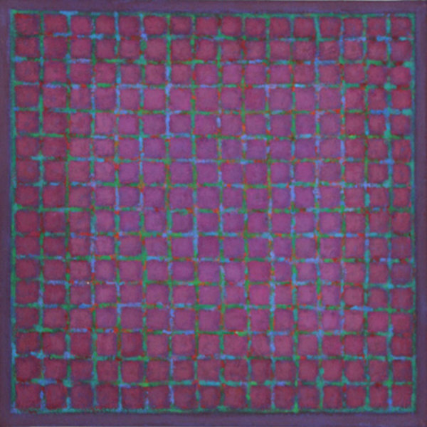Grid - Green & Blue on Red Violet 45x45cm Acrylic 2015