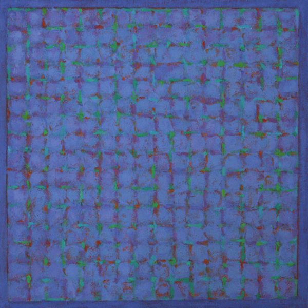 Grid - Green on Blue 45x45cm Acrylic on canvas 2014
