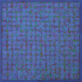 Grid - Green on Blue 45x45cm Acrylic on canvas 2014