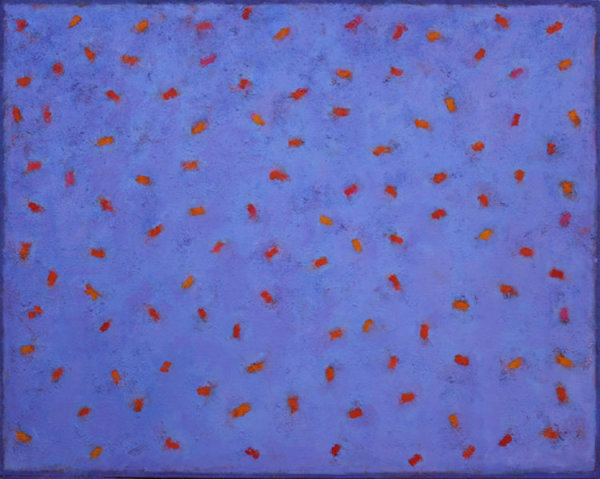 Red on Blue 100x80cm Acrylic on canvas 2013