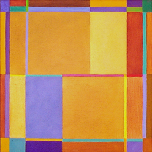 'Yellow Intersection' 45x45 acrylic on canvas 2002