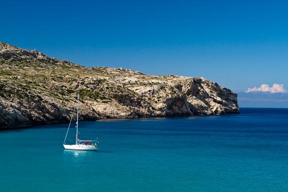 White yacht on a blue sea