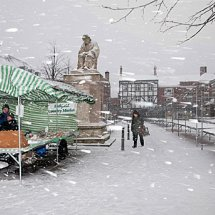 Market in the snow